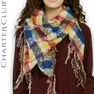 NEW Charter Club Plaid Scarf Fringed Multi Color
